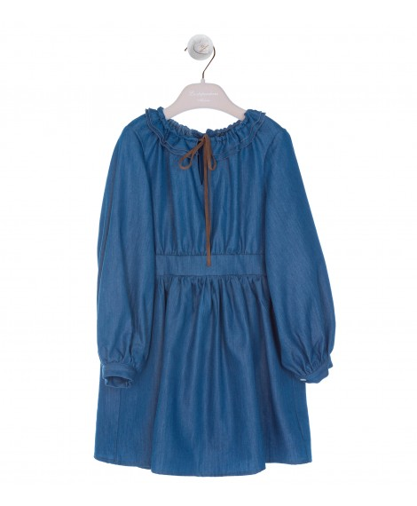 ABITO COULISSE CHAMBRAY BLU