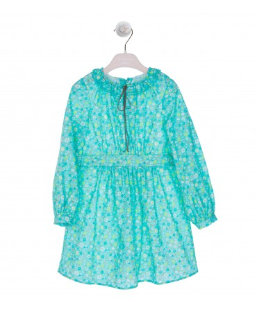 GREEN FLORAL DRESS WITH RIBBON SUEDE