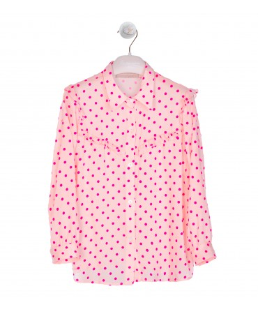 FUCHSIA FLOCKED POLKA DOT SHIRT WITH RUFFLE DETAIL