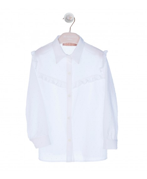 WHITE SHIRT WITH RUFFLE DETAIL