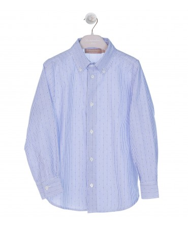 CAMICIA BUTTON DOWN RIGHE BLU