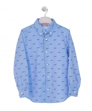 STRIPPED BOTTON DOWN SHIRT BLUE WITH PRINT