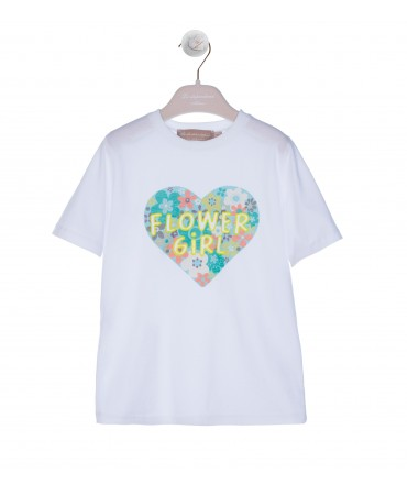 WHITE T-SHIRT WITH GREEN FLUO PRINT