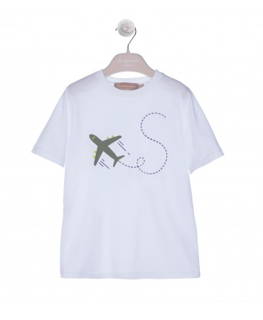 WHITE T-SHIRT WITH GREEN AIRPLANE