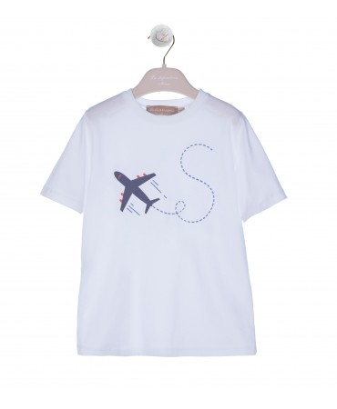 WHITE T-SHIRT WITH BLUE AIRPLANE