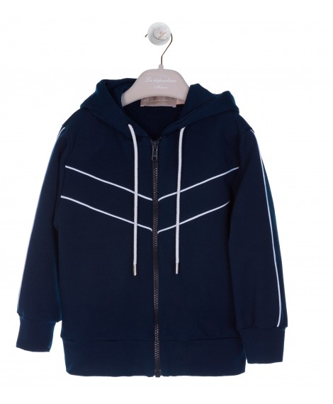 NAVY/WHITE JERSEY HOODY JUMPER