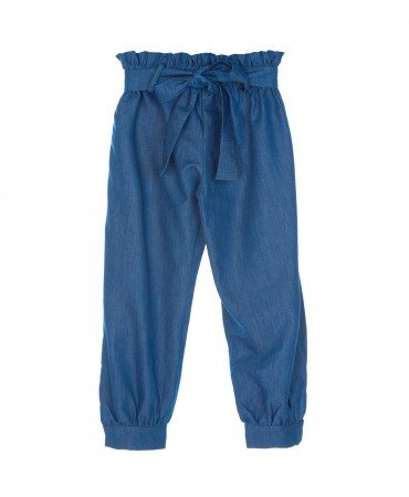 HIGH WAIST PAPER-BAG BLUE TROUSERS