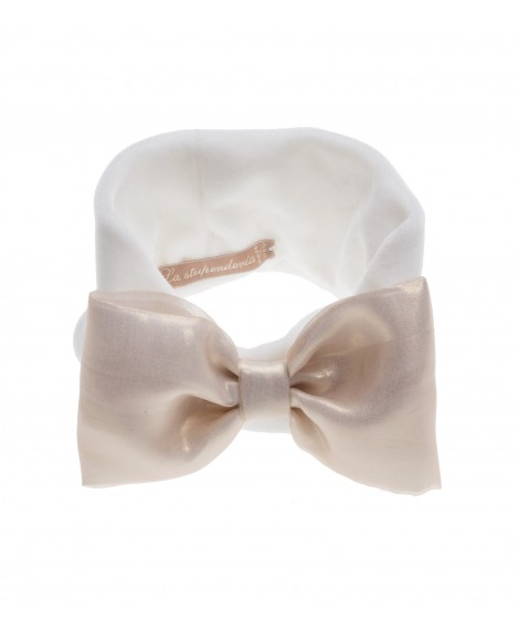 WHITE PLUSH CHENILLE HEADBAND WITH GOLDEN BOW