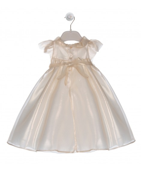DRESS IN GOLDEN SILK ORGANZA AND NECK WITH ROUCHE