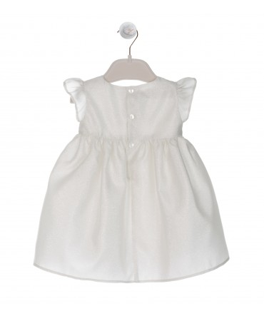DRESS IN IVORY MIKADO LUREX WITH belt fitting and COULOTTE