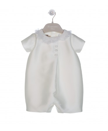 CREAM ROMPER IN MIKADO SILK