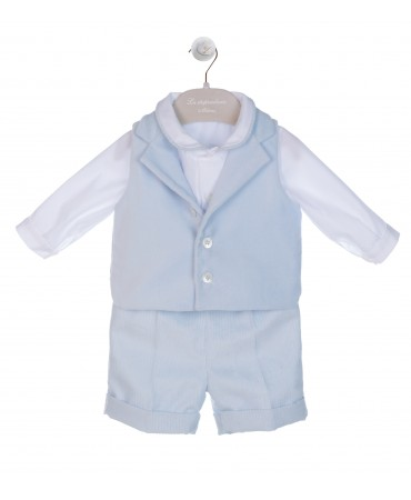 LIGHT BLUE BOY COMPLETE SET SHIRT - SHORTS - WAISTCOAT