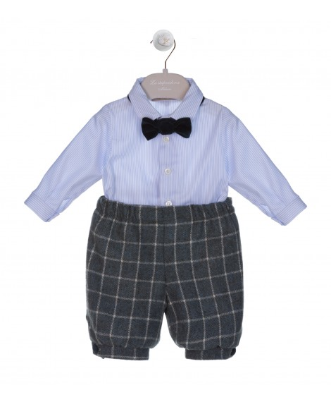 BABY BOY BLUE AND GREEN SET  SHIRT -  KNICKERBOCKER
