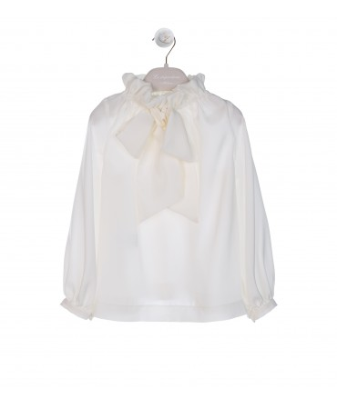 CREAM SILK SATIN BLOUSE