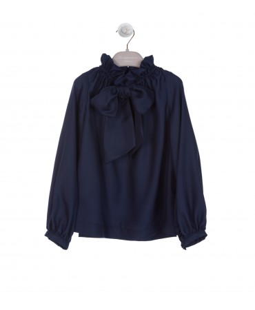NAVY SILK SATIN BLOUSE