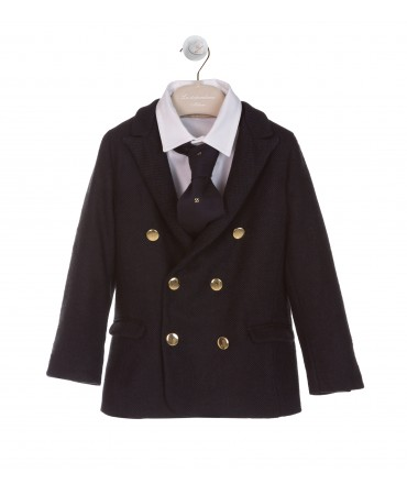 DOUBLE BREASTED NAVY UNLINED JACKET