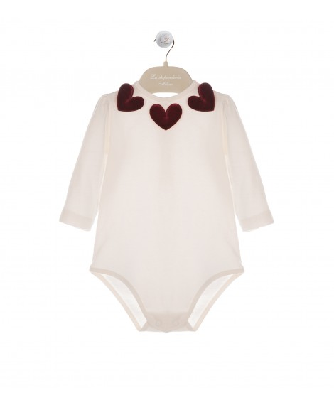 LONG SLEEVE BODY IN CREAM AND BORDEAUX HEARTS