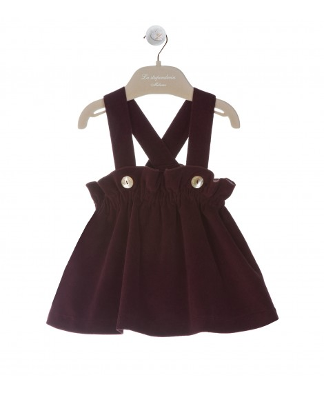 SET PLUM DUNGAREE SKIRT WITH COULOTTE
