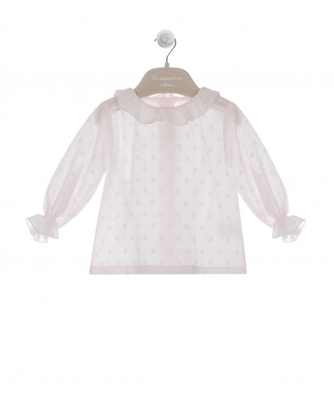 CAMICIA COLLO ROUCHE IN PLUMETIS ROSA