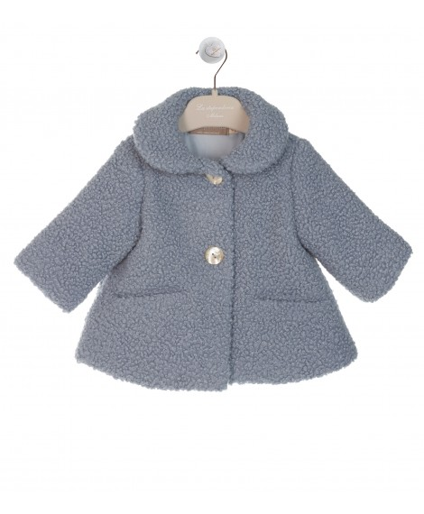 BLUE PADDED COAT WITH ROUND COLLAR