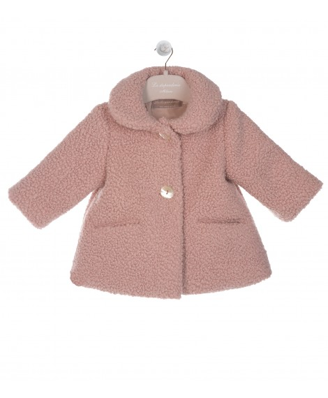 PINK PADDED COAT WITH ROUND COLLAR
