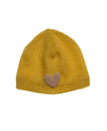 MUSTARD KNITTED LUREX HAT