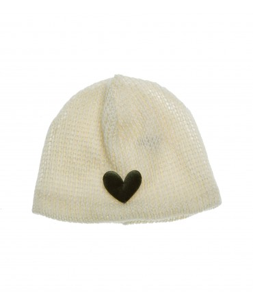 CREAM KNITTED LUREX HAT