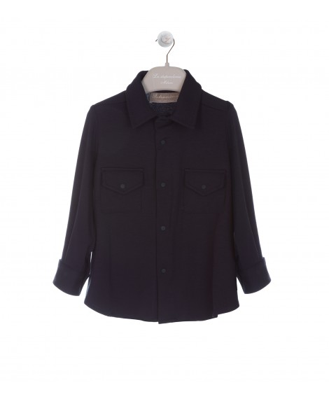 NAVY FRENCH COLLAR SHIRT WITH POCKETS