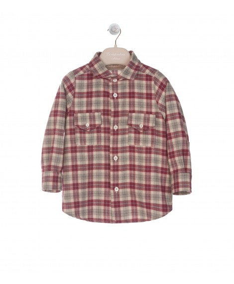 RED AND GREY TARTAN FRENCH COLLAR SHIRT WITH POCKETS