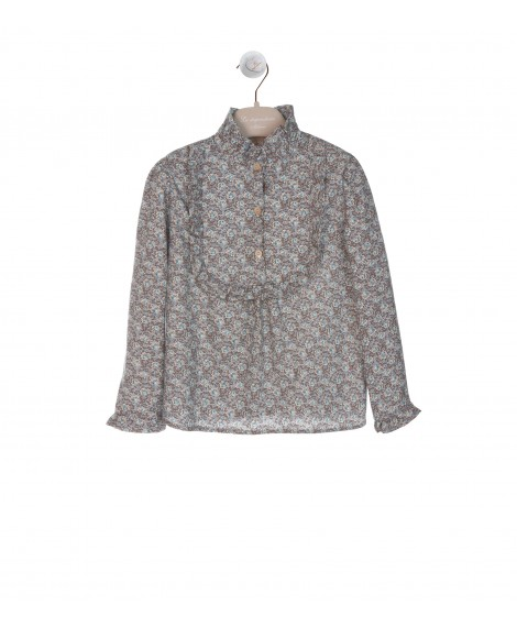 BLUE AND CAMEL COTTON BLOUSE