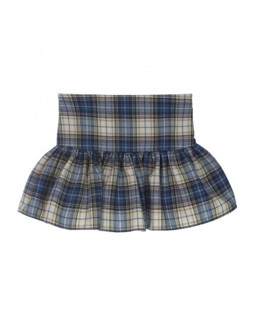 GONNA BALZA ARRICCIATA IN TARTAN BLU E VERDE