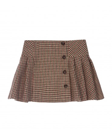 GREEN AND BORDEAUX HOUNDSTOOTH PLEATED SKIRT