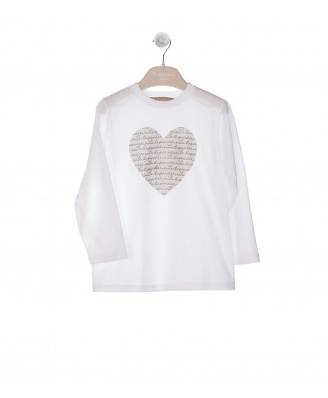 WHITE LONG SLEEVE T-SHIRT WITH HEART