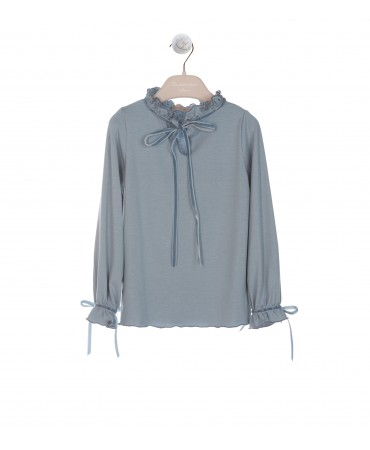 BLUE BLOUSE WITH RUFFLE