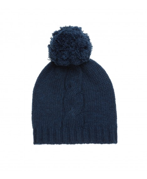 BLUE KNITTED HAT WITH POM POM