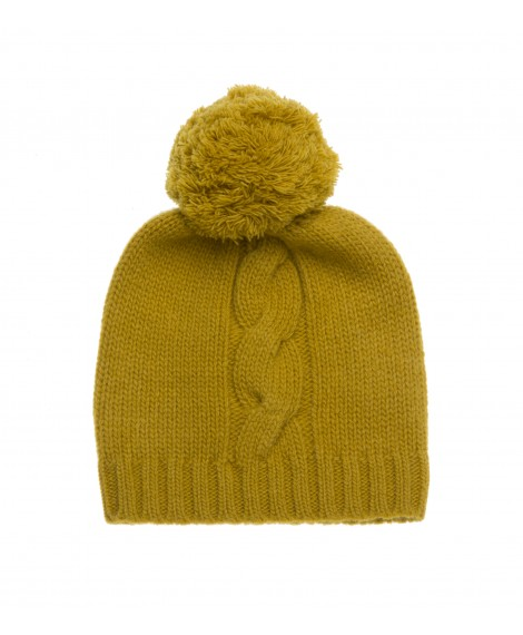 MUSTARD KNITTED HAT WITH POM POM