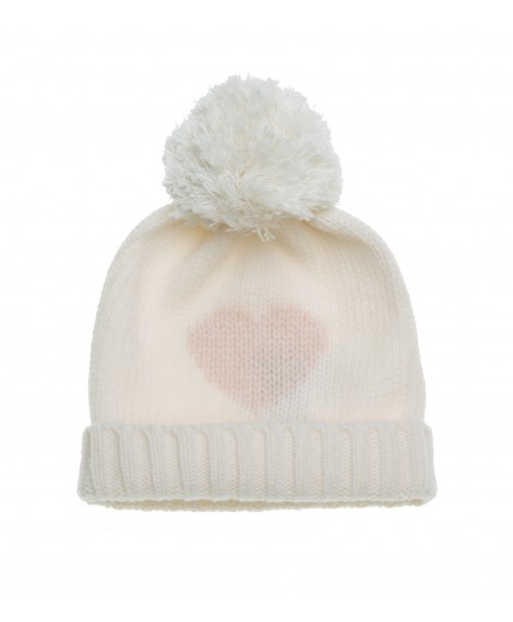 CREAM KNITTED HAT WITH LIGHT BLUE POM POM