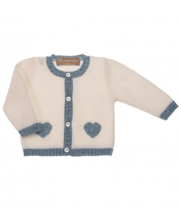 IVORY KNITTED CARDIGAN WITH LIGHT BLUE HEARTS