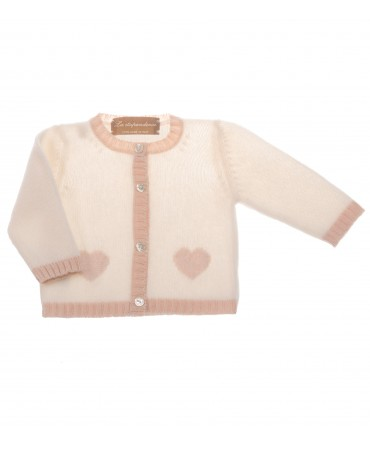 IVORY KNITTED CARDIGAN WITH PINK HEARTS