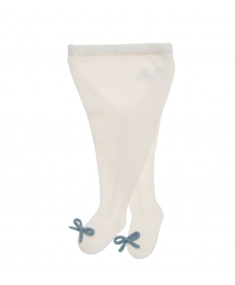 CREAM WOOL TIGHTS WITH LIGHT BLUE BOWS
