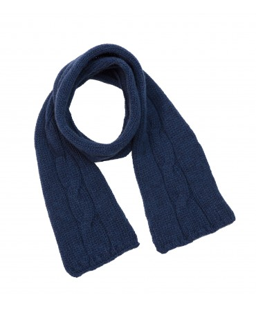 BLUE WOOL CABLE KNITTED SCARF