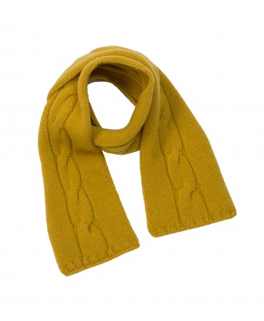 MUSTARD CABLE KNITTED SCARF