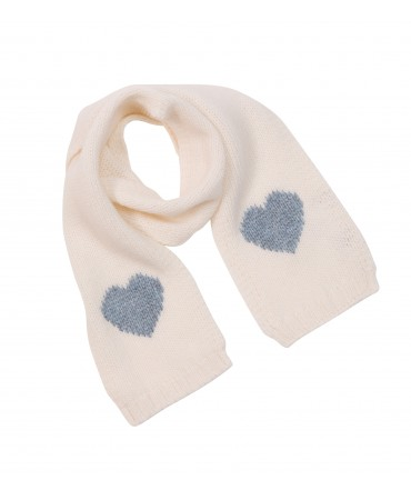 CREAM KNITTED WOOL SCARF WITH LIGHT BLUE HEARTS