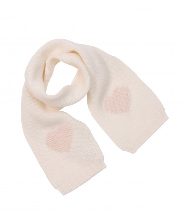 CREAM KNITTED WOOL SCARF WITH PINK HEARTS