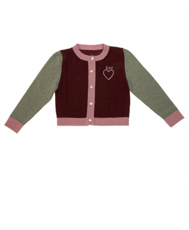 BORDEAUX AND SAGE GREEN WOOL CARDIGAN