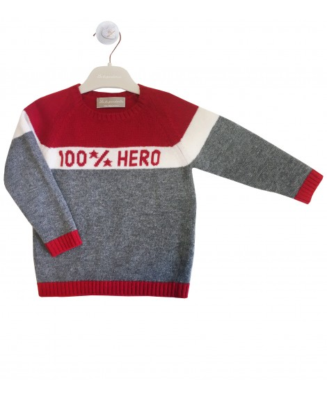 Red and grey pullover