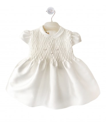 White silk dress with smock embroidery and bloomers