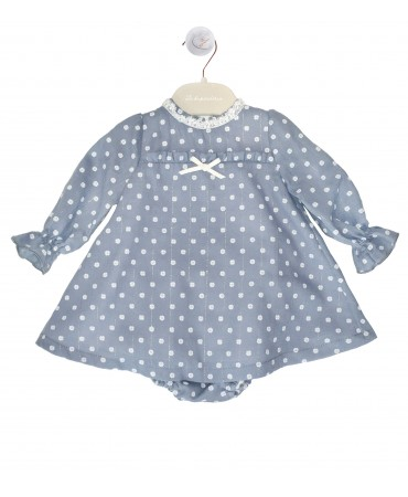 Blue dress with polkadots