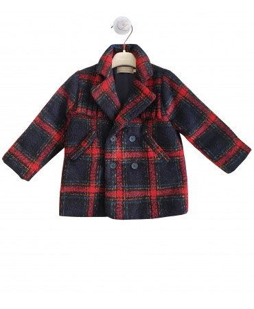 Navy and red tartan padded jacket