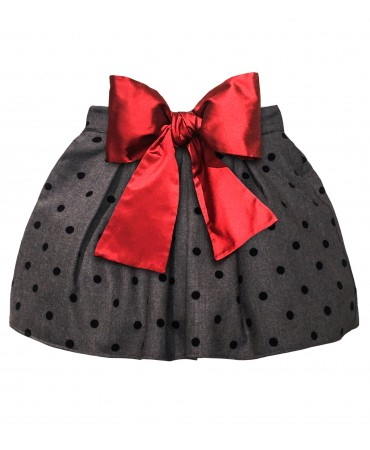 Grey skirt with red bow